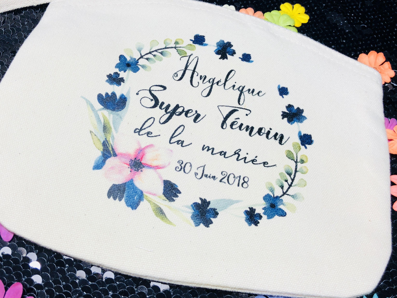 Trousse Pochette Super témoin personnalisée Floral bleu – Prénom et date