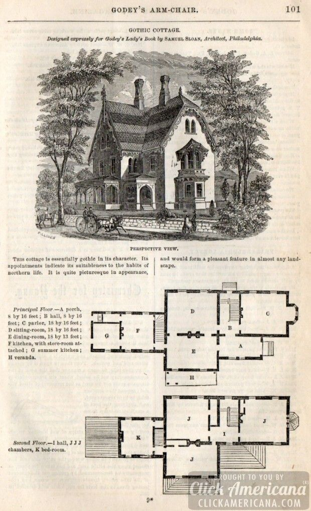 Classic Home Design Gothic Cottage 1862 Click Americana Cottage House Plans Vintage House Plans Classic House