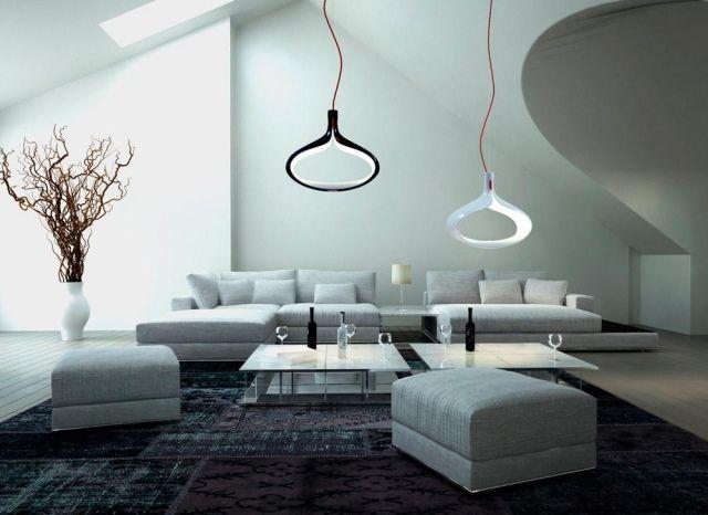 designer-pendelleuchte alma weiß schwarz modernes wohnzimmer grau, Wohnzimmer