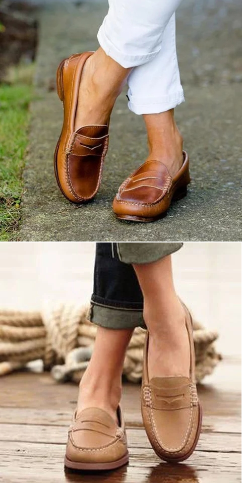 Loafers Low Heel PU Leather Loafers