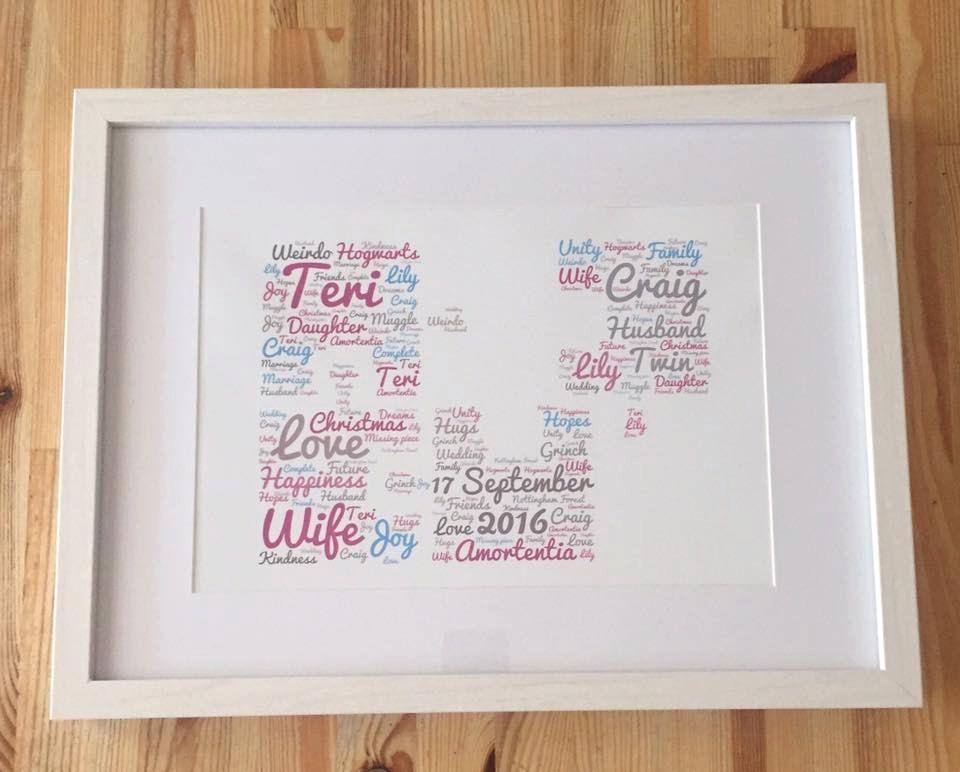 Framed word art, jigsaw puzzle design, great wedding gift idea, or ...