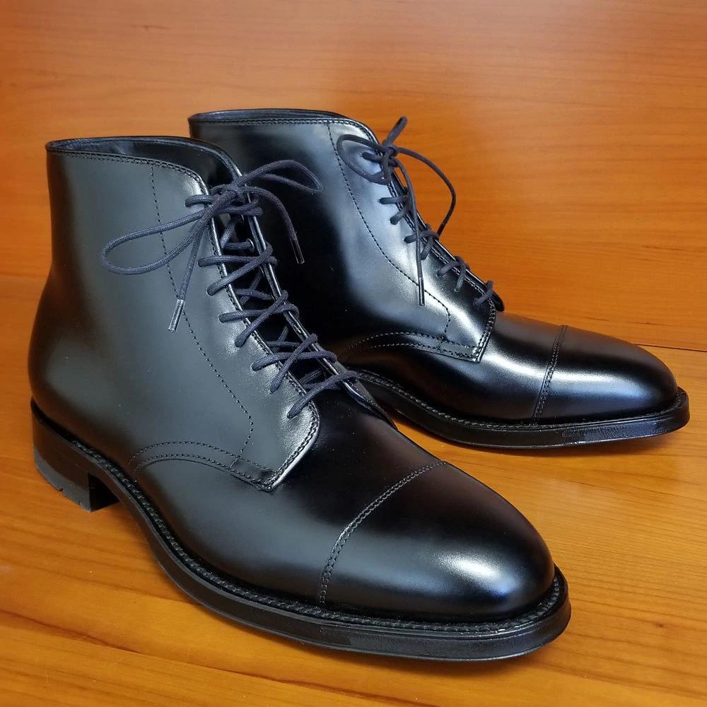 Round Cord Waxed Boot Laces 54 Black Lace Boots Alden Boots Dress Shoes Men [ 1000 x 1000 Pixel ]