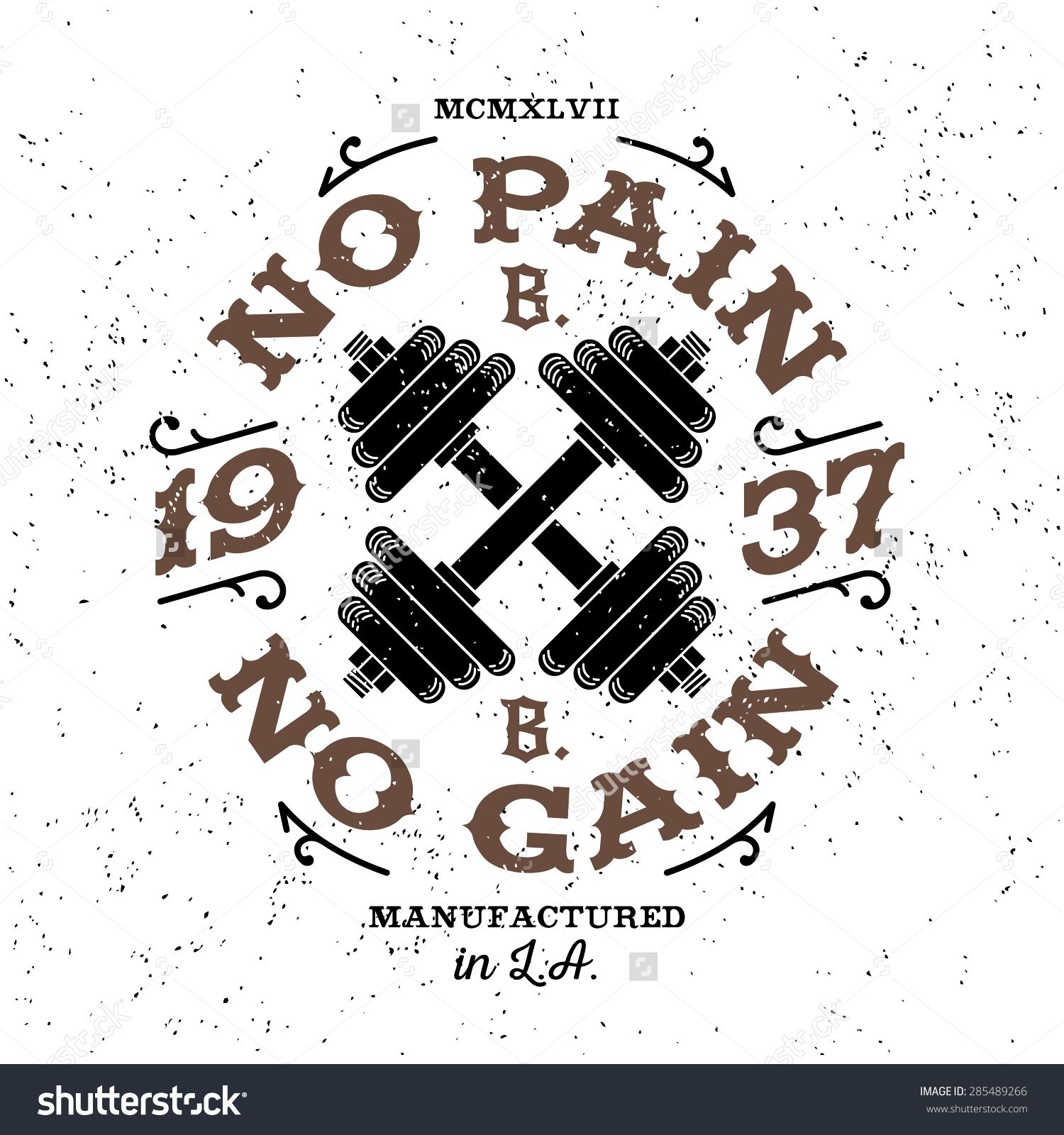 "Monochrome Fitness Bodybuilding Hipster Vintage Label , Badge ""No ... for Bodybuilding Graphic Design  575cpg"