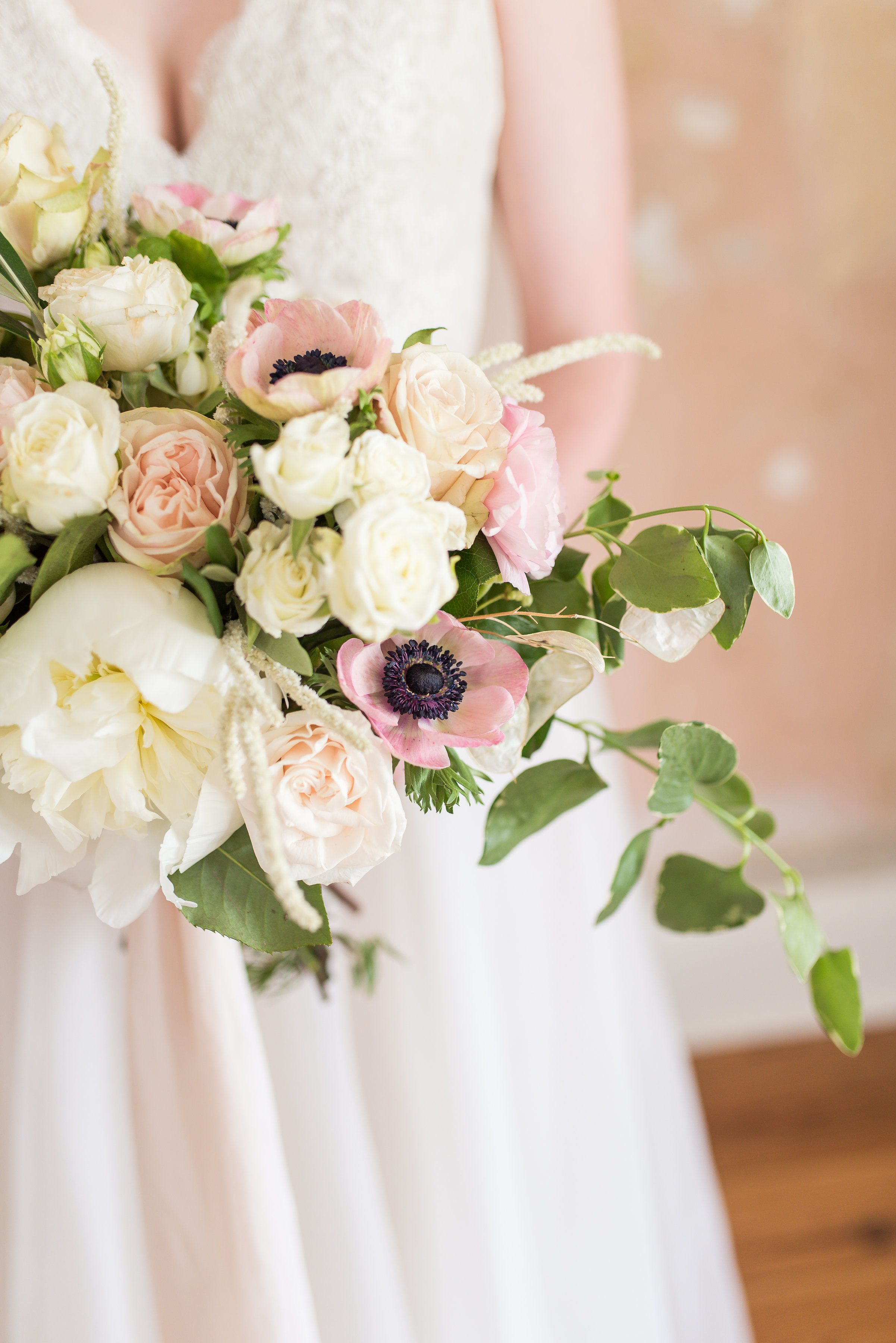 81155343c764 This Venue Looks Like It Was Made for the Bride. Peony and anemone wedding  bouquet
