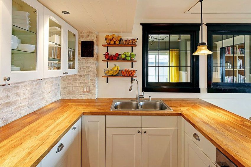 Wood kitchen countertops design ideas wood kitchen for White kitchen cabinets butcher block counter