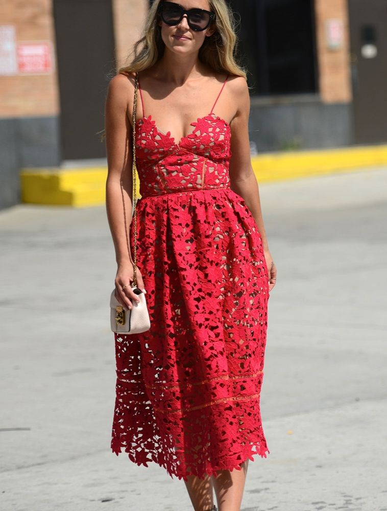 Cara McLeay wearing Self Portrait s Azalea lace dress on the streets in New  York. 8e97f91023