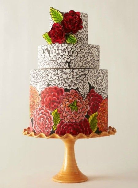 Hand Painted wedding cake...WHOA