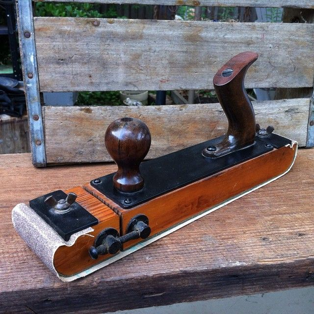 """woodworking - Dowd's Vintage & Antique Tools on Instagram """"For handtoolthursday an apparently shop made sander, about the same size as a Jack Plane  Whoever did this went to a lot of trouble …"""" #homemadetools"""