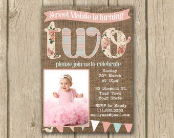 2nd birthday invitation photo invite two TWO invite baby girl