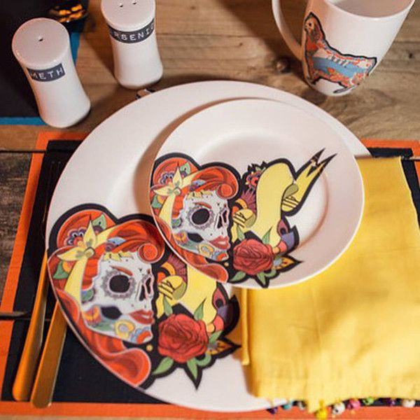 Charlotte Clark Designer Maker Lady Day Of The Dead Dinner Set (£35) ? & Charlotte Clark Designer Maker Lady Day Of The Dead Dinner Set (£35 ...