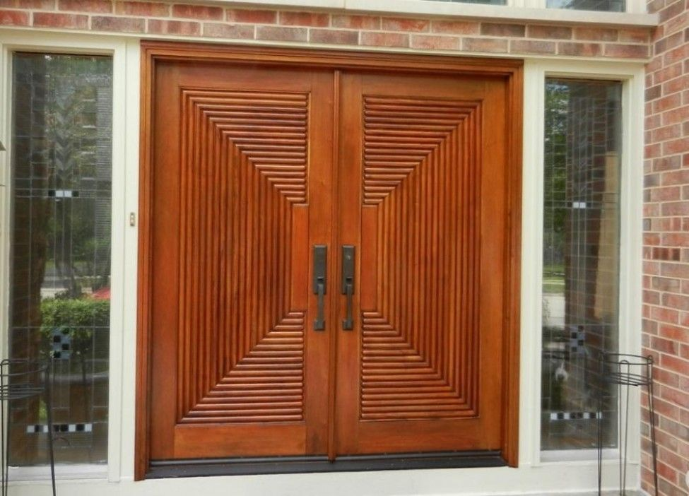 Wooden door design with brick wall contemporary main door for Modern main entrance door design