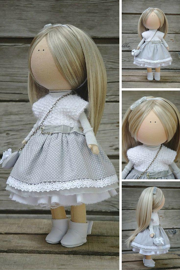 Soft doll Gray blonde Handmade Gift doll Baby doll Collectable doll Art doll Fabric doll Tilda unique magic doll by Master Margarita Hilko