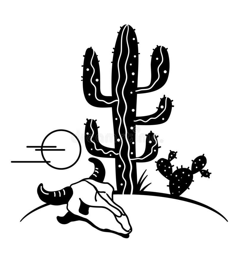 Desert Landscape With Cactuses Arizona Desert Cactuses Black Silhouette And Cow Sponsored Ad Ad Cactus Cactus Silhouette Cactus Illustration Cow Skull