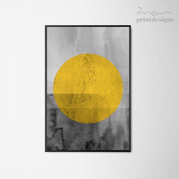 Printable Scandinavian Print, Scandinavian Poster, Yellow Grey Print ...