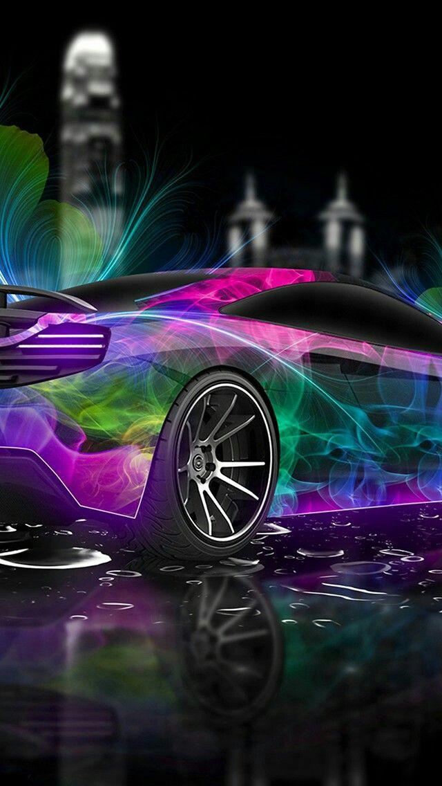 neon lights car wallpaper