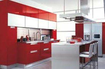 diseo Cocina en color rojo y blanco con isla Ideas de cambios
