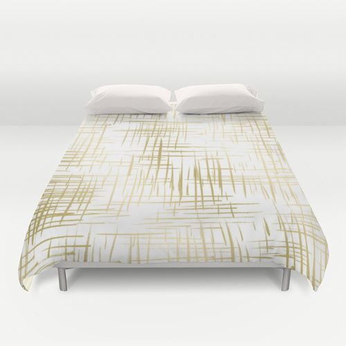 Crosshatch Gold Duvet Cover By Caitlin Workman Gold
