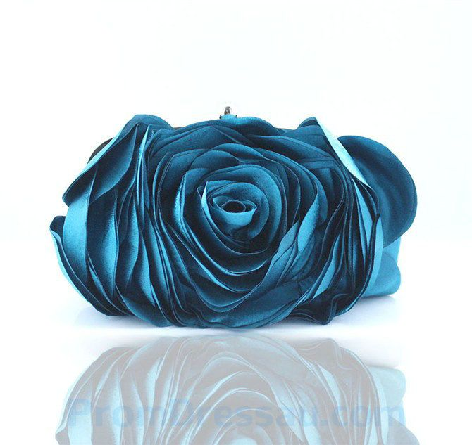 Flower Shaped Ocean Blue Clutch Handbag For Party Clutch Handbag