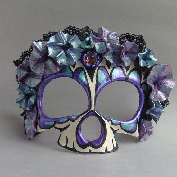 A beautiful purple and black calavera mask. #Day_of_the_Dead #costume #mask