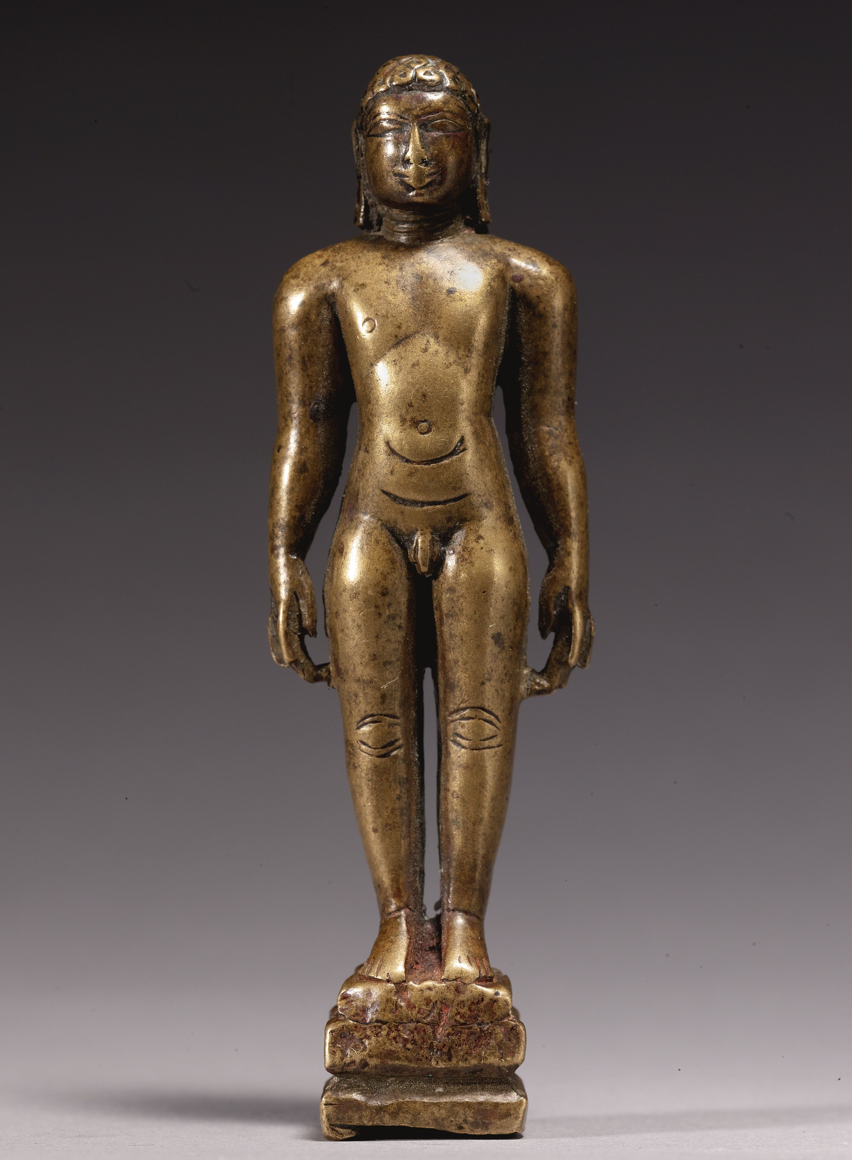 """Standing Jina<br>Copper alloy<br>South India 