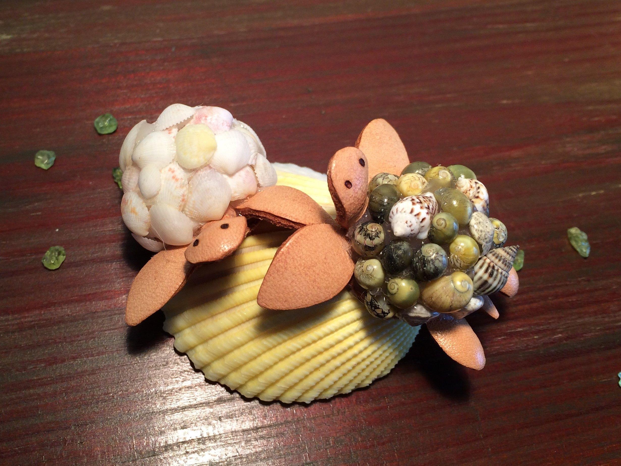 子ガメくん*ペア*貝殻の上でひと休み | 貝殻と革の可愛いインテリア雑貨ショップ*rikoyu・りこゆ