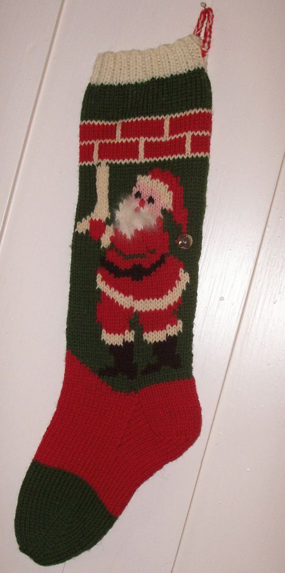 Hand Knit Wool Christmas Stocking Old Pattern Santa by ...