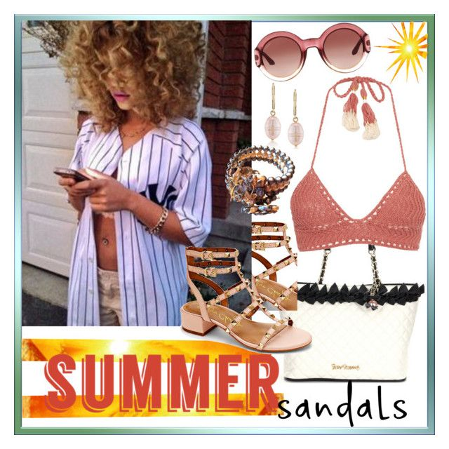 """The Cutest Summer Sandals"" by westcoastcharmed ❤ liked on Polyvore featuring Betsey Johnson, Carolee, Arturo Chiang, SHE MADE ME, Gucci, men's fashion, menswear and summersandals"