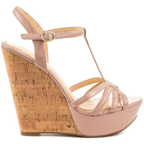Jessica Simpson Women's Bevin - Nude Blush Patent (€67) ❤ liked on Polyvore featuring shoes, heels, pink, wedges, jessica simpson shoes, wedge heel shoes, summer shoes, pink wedge shoes and patent leather shoes