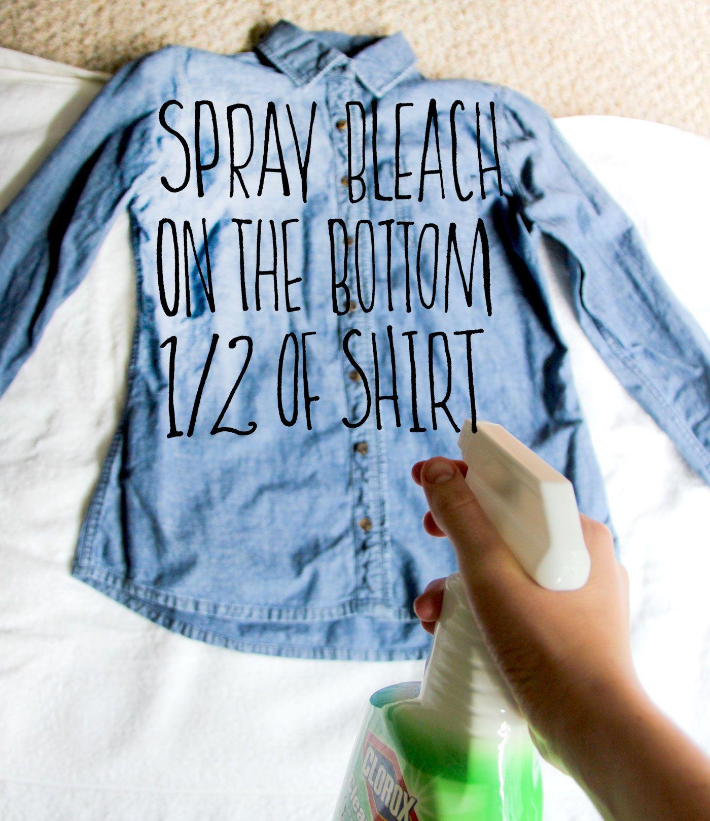 Diy bleached denim bleach shirt diy bleach jeans diy