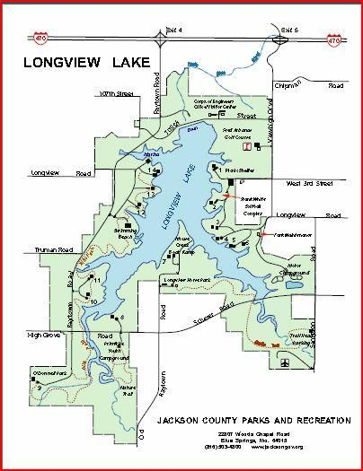 Map of Longview Lake Lakes Park and County park