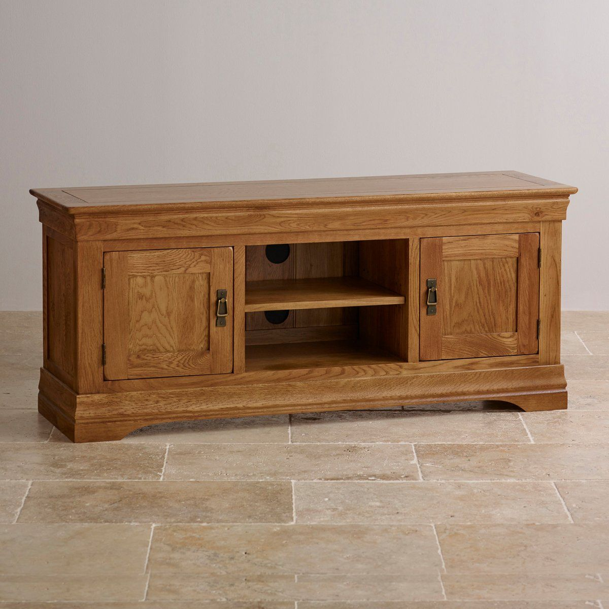French Farmhouse Rustic Solid Oak Large Tv Cabinet French  # Beestudio Muebles
