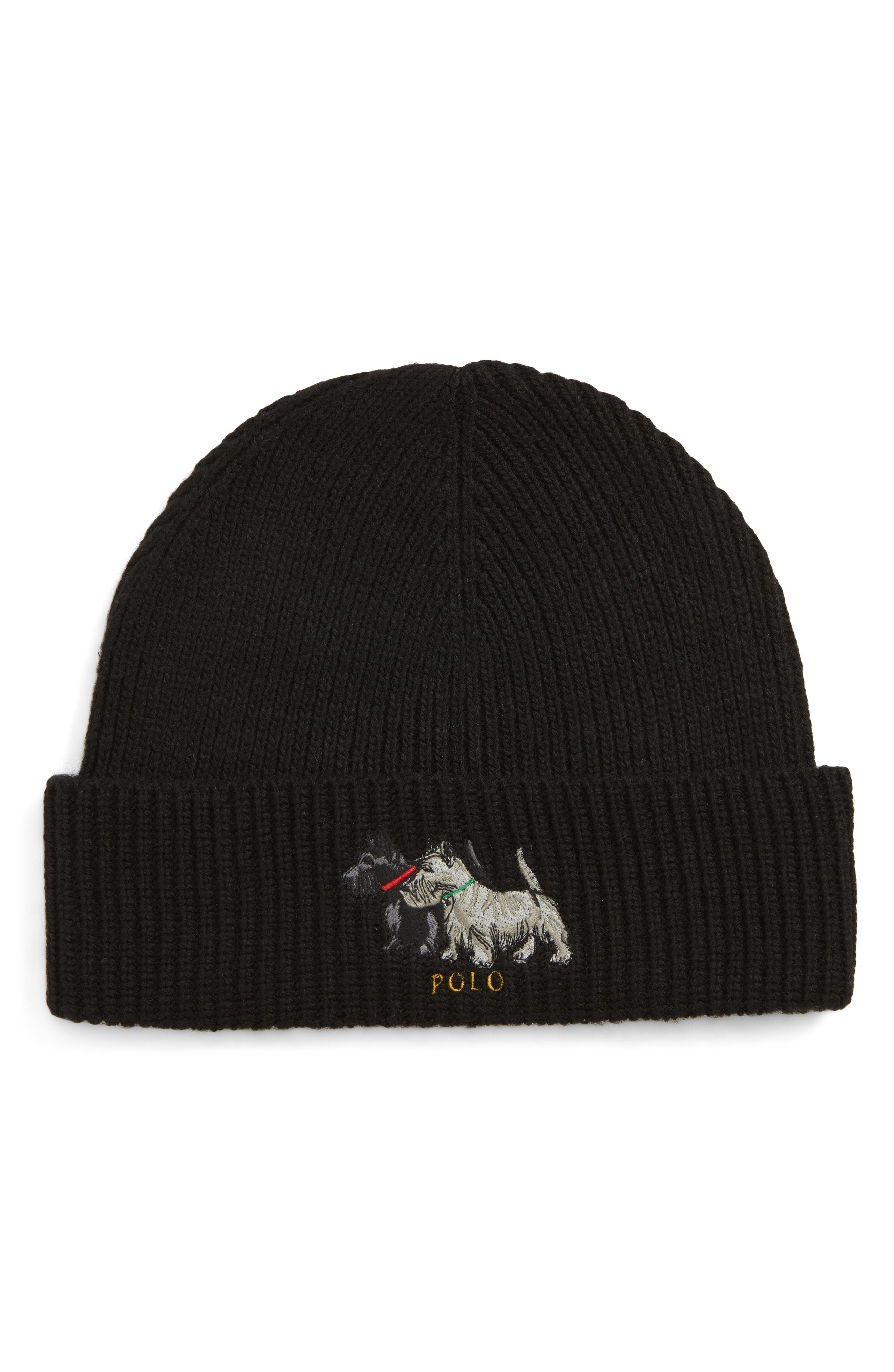 6851d88c4dd POLO RALPH LAUREN EMBROIDERED SCOTTIE DOGS BEANIE - BLACK.  poloralphlauren