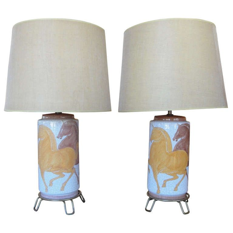 Hand Painted Italian Ceramic Table Lamps By Ernestine 1stdibs Com Vintage Table Lamp Ceramic Table Lamps Lamp