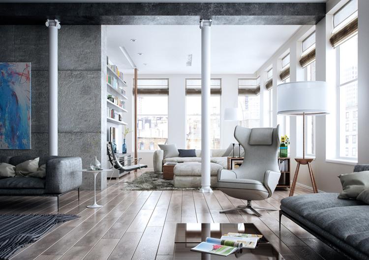 Wohnzimmer Im Industriellen Stil Mit Säulen, Die Für Etwas Romantik Sorgen