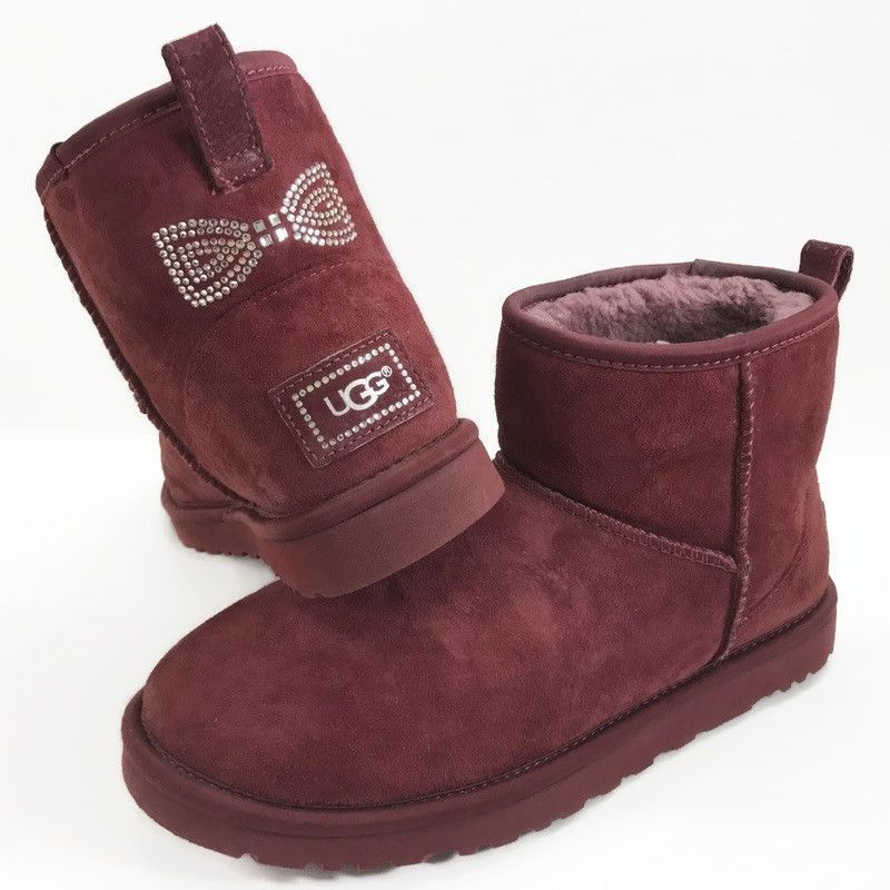 ee12d07723e UGG Classic Mini Crystal Bow Boots Womens Sz 8 Oxblood Red Low Ankle ...