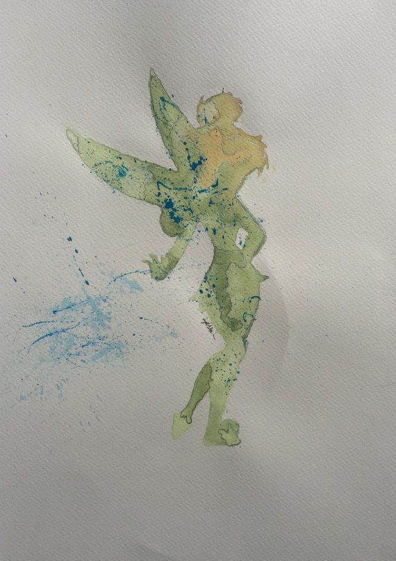Tinkerbell No 2 Watercolour Print Painting Art By Polkadotowls