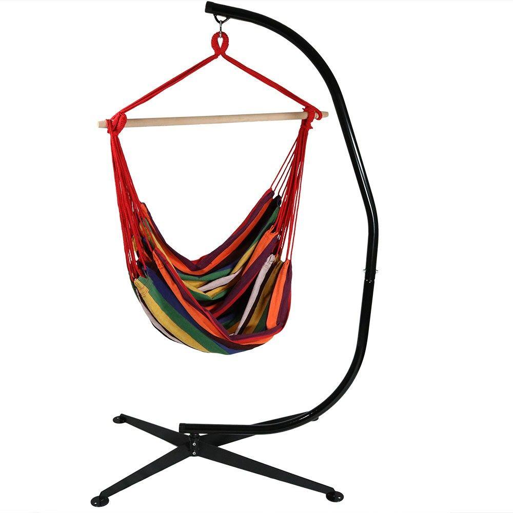 Jumbo hanging rope hammock chair swing and cstand sunset
