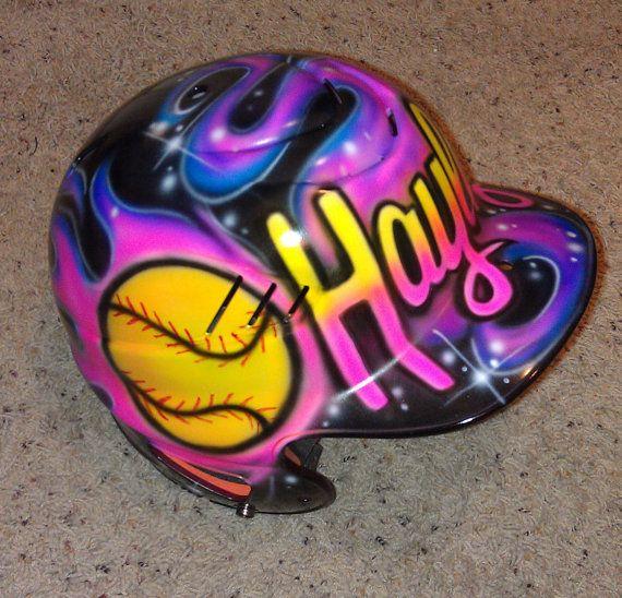 Airbrushed Custom Softball Batting Helmet With Your Name Fire Flames Custom Softball Softball Helmet Batting Helmet