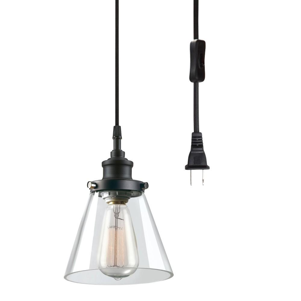 "Globe Electric Amris 11/"" 1-Light Plug-In Pendant White Finish, 15 Foot Cord"