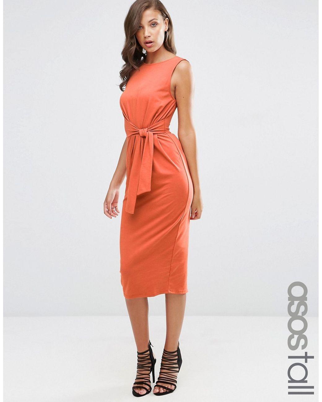 097ffd6b292 Women s Orange Tie Side Midi Bodycon Dress