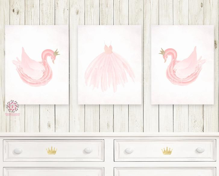 Boho Pink Swan Ballet Nursery Wall Art Print Baby Girl Ethereal Set ...