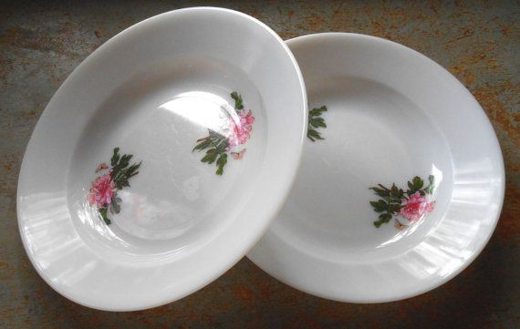 Vintage Bowls Floral Plastic Butterflies Set of Two by TheBackShak, $7.50