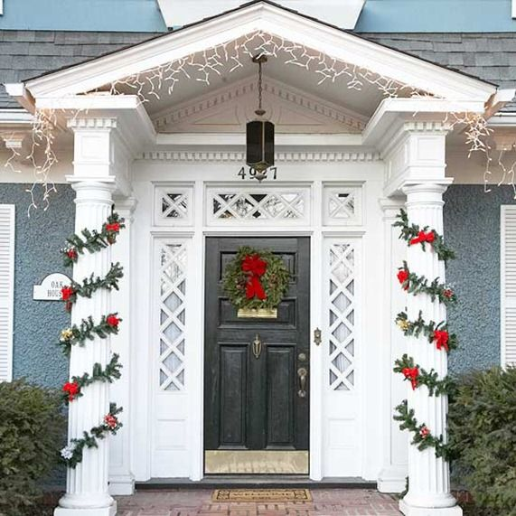 Festive Outdoor Displays | Column wrap, Icicle lights and Garlands