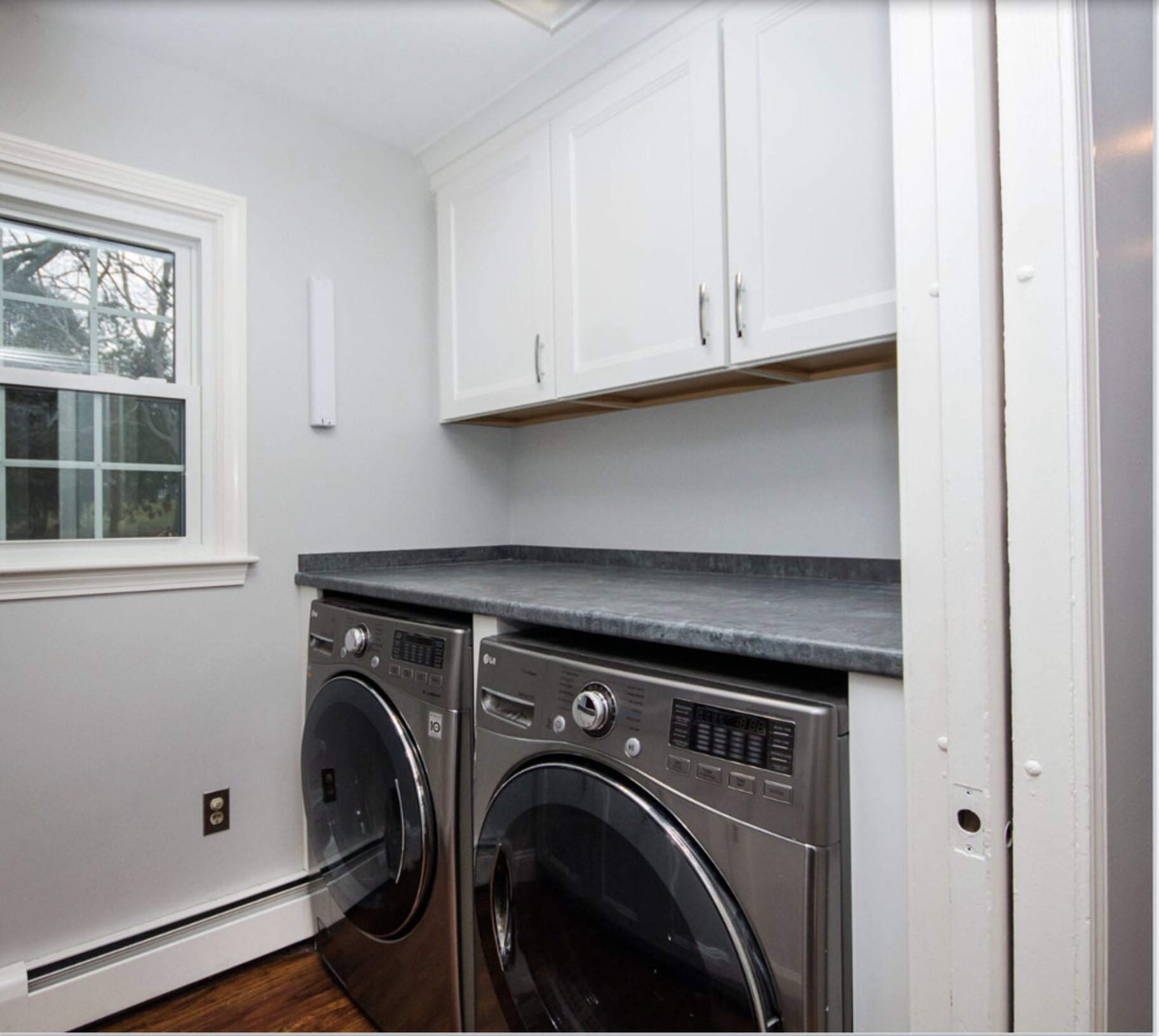 Laundry Room Remodel White laundry room Cabinets Grey laminate