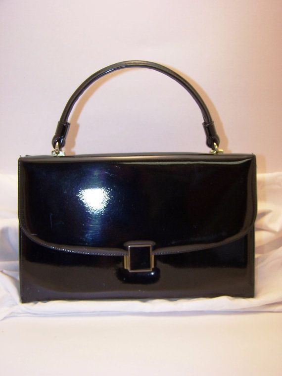 Items similar to 1960s black patent leather purse on Etsy