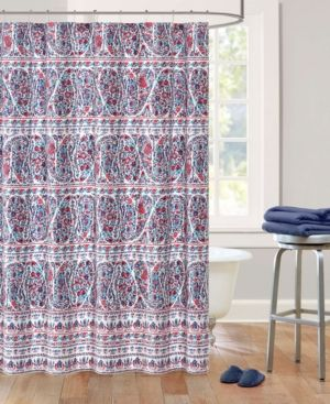 Echo Design Woodstock Cotton Sateen Floral Paisley Print Shower Curtain - Blue/red
