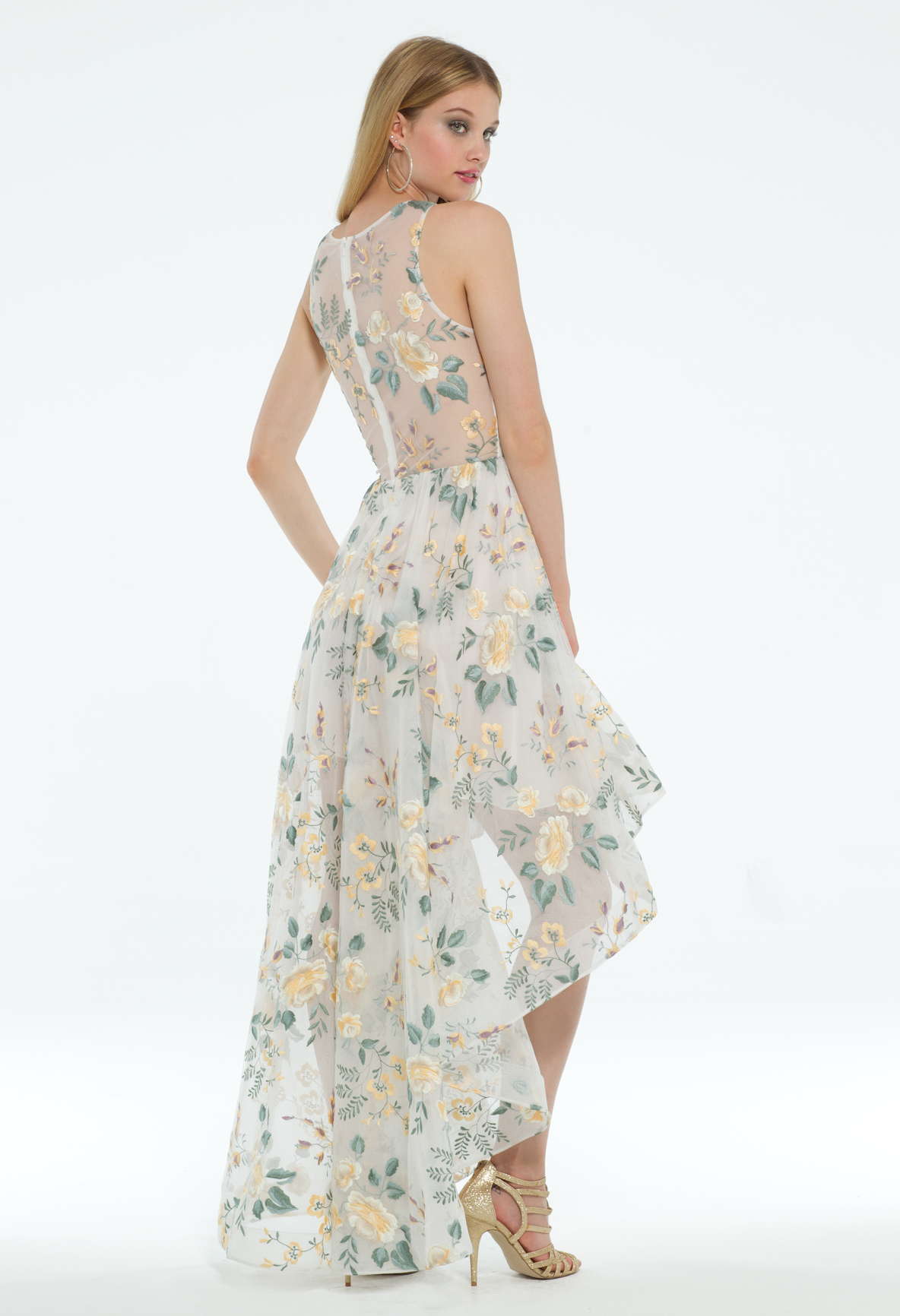 This Floral Cocktail Dress Is Garden Party Perfection With Its Embroidered Dress Style High Low Skirt And Chic Si Gorgeous Dresses Dresses Prom Dresses Long [ 1732 x 1184 Pixel ]