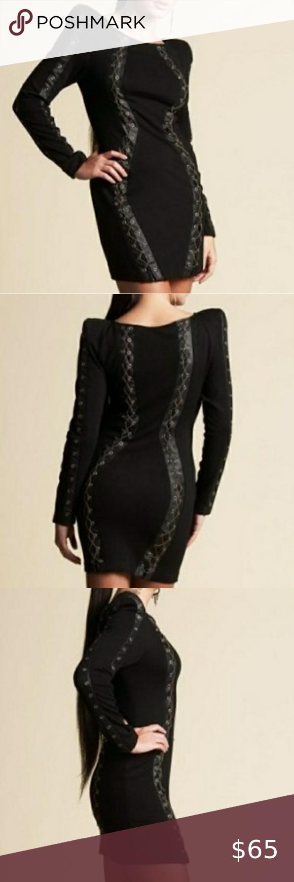 Bebe Kardashians Black Chain Corset Dress Size M Corset Dress Black Chain Dresses [ 1740 x 580 Pixel ]