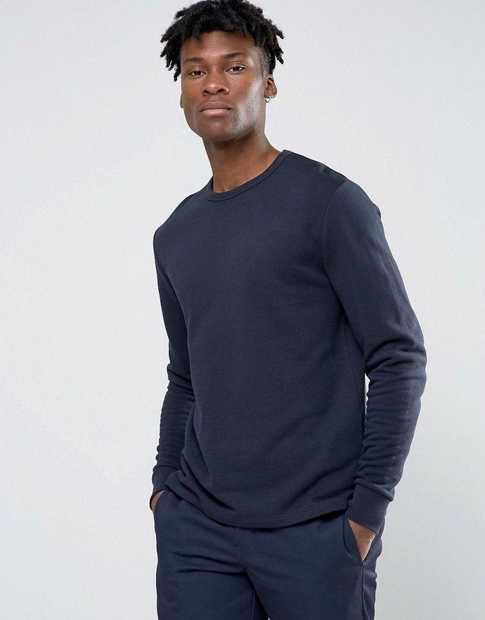 Asos Sweatshirt With Fixed Hem In Navy