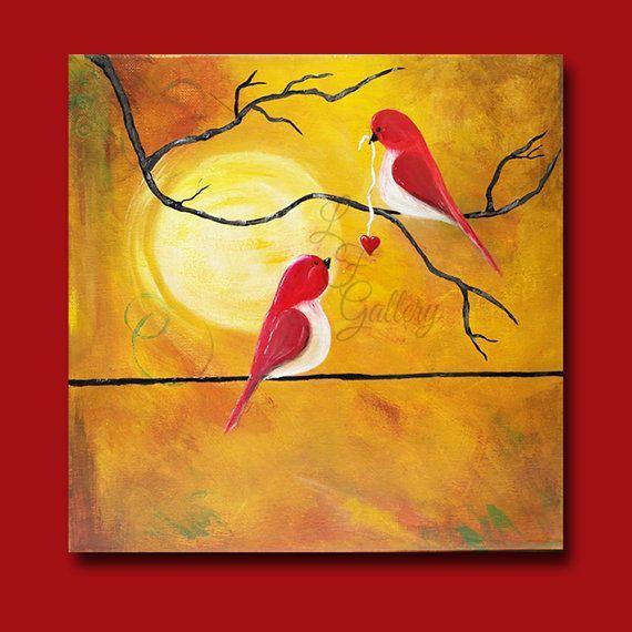 bird paintings on canvas   Original Canvas Painting Love Birds ...